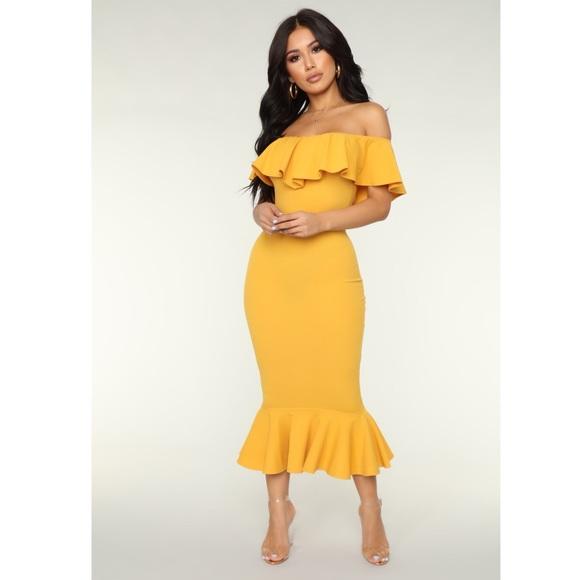 6df10c253f Fashion Nova Dresses   Skirts - FashionNova Moments Like This Ruffle Dress -Mustard